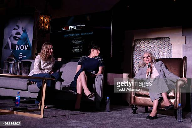 Actresses Saoirse Ronan Sarah Silverman and Blythe Danner THR's Scott Feinberg actress Lily Tomlin speak onstage at 'Indie Contenders Roundtable...