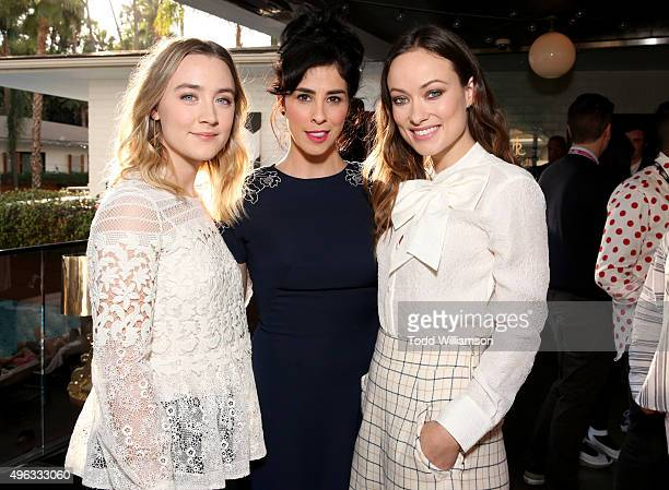 Actresses Saoirse Ronan, Sarah Silverman and Olivia Wilde attend the 'Indie Contenders Roundtable presented by The Hollywood Reporter' during AFI...
