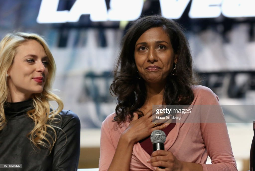 Actresses Sara Mitich and Rekha Sharma speak at the `Discovery Panel Part 1` panel during the 17th annual official Star Trek convention at the Rio...