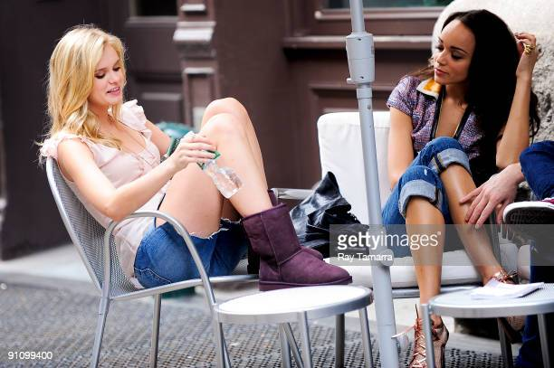 Actresses Sara Paxton and Ashley Madekwe seen on location at The Beautiful Life set in Soho on September 23 2009 in New York City