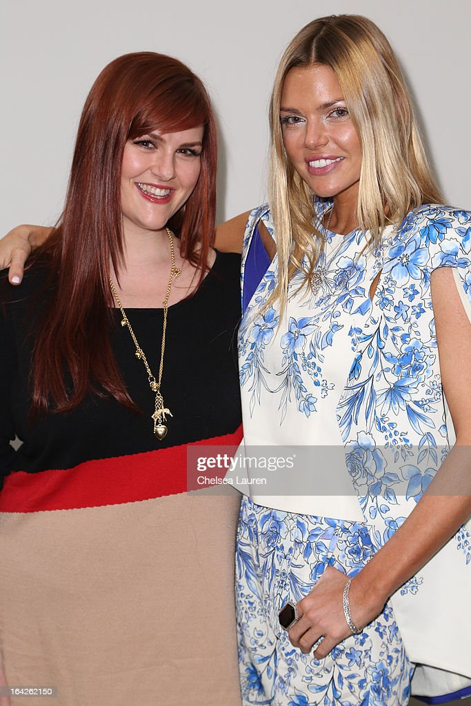 Actresses Sara Rue (L) and Sophie Monk arrive at the 'Dorfman in Love' premiere at Downtown Independent Theatre on March 21, 2013 in Los Angeles, California.