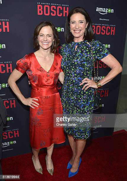 Actresses Sarah Clarke and Mimi Rogers attend Amazon Red Carpet Premiere Screening For Season Two Of Original Drama Series 'Bosch' on March 3 2016 in...