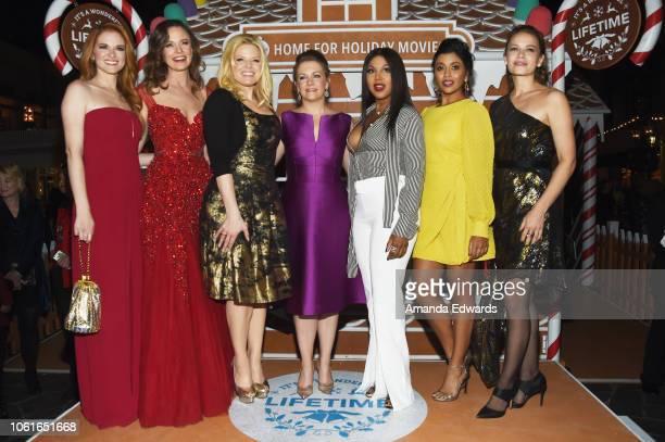 Actresses Sarah Drew Rachel Boston Megan Hilty Melissa Joan Hart Toni Braxton Tiya Sircar and Bethany Joy Lenz attend the opening night celebration...