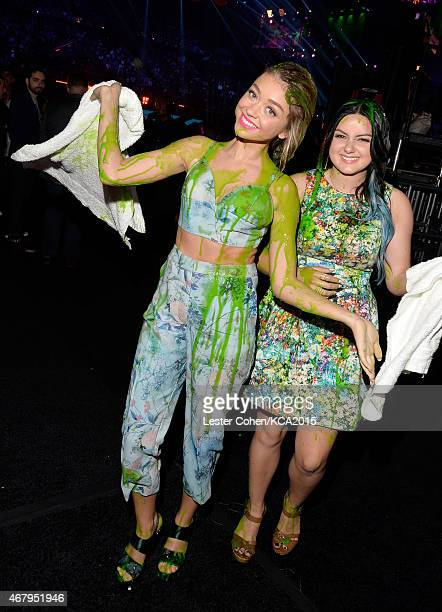 Actresses Sarah Hyland and Ariel Winter after getting slimed attend Nickelodeon's 28th Annual Kids' Choice Awards held at The Forum on March 28 2015...