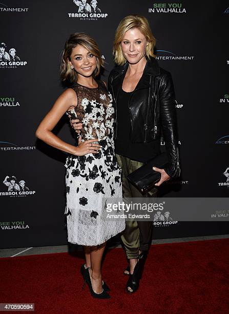 """Actresses Sarah Hyland and Julie Bowen arrive at the Los Angeles premiere of """"See You In Valhalla"""" at the ArcLight Cinemas on April 21, 2015 in..."""