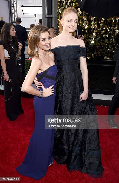 Actresses Sarah Hyland and Sophie Turner attend The 22nd Annual Screen Actors Guild Awards at The Shrine Auditorium on January 30 2016 in Los Angeles...