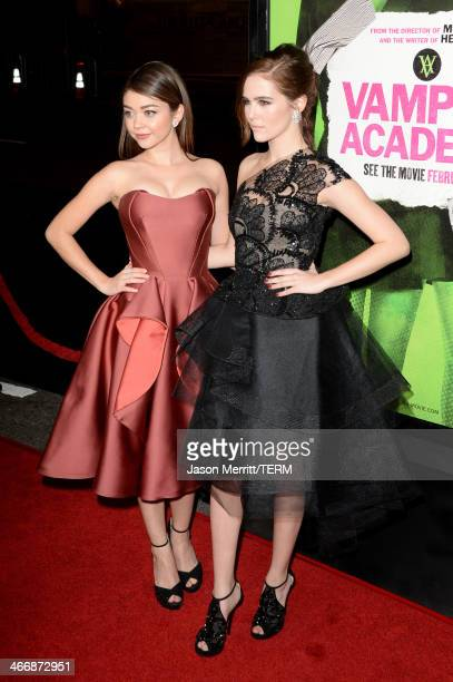 """Actresses Sarah Hyland and Zoey Deutch attend the premiere of The Weinstein Company's """"Vampire Academy"""" at Regal Cinemas L.A. Live on February 4,..."""