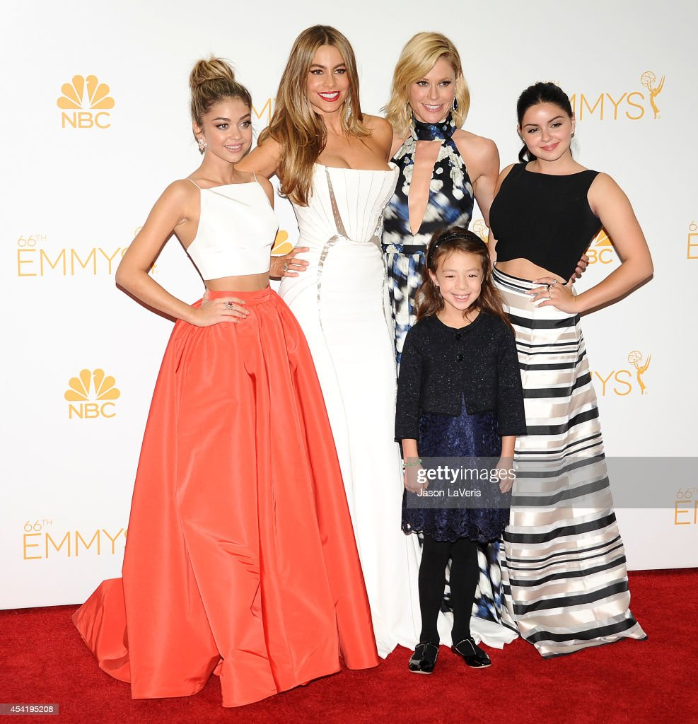 Actresses Sarah Hyland, Sofia Vergara, Aubrey Anderson-Emmons, Ariel Winter and Julie Bowen pose in the press room at the 66th annual Primetime Emmy Awards at Nokia Theatre L.A. Live on August 25, 2014 in Los Angeles, California.