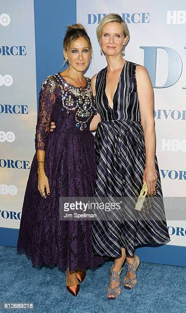 """Actresses Sarah Jessica Parker and Cynthia Nixon attend the """"Divorce"""" New York premiere at SVA Theater on October 4, 2016 in New York City."""