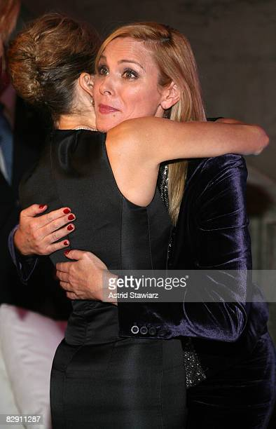 Actresses Sarah Jessica Parker and Kim Cattrall attend the 'Sex and the City The Movie' DVD launch at the New York Public Library on September 18...