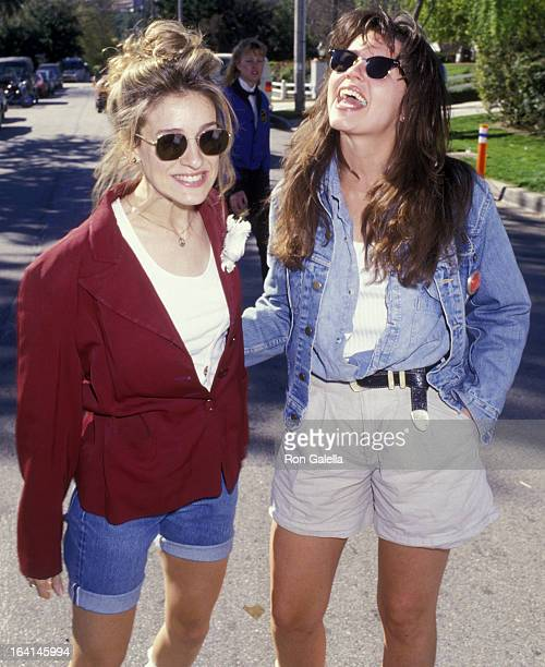 Actresses Sarah Jessica Parker and Tonya Crowe attend McClaren Home for Abused Children Benefit on March 12, 1988 at Henry Winkler's home in Toluca...