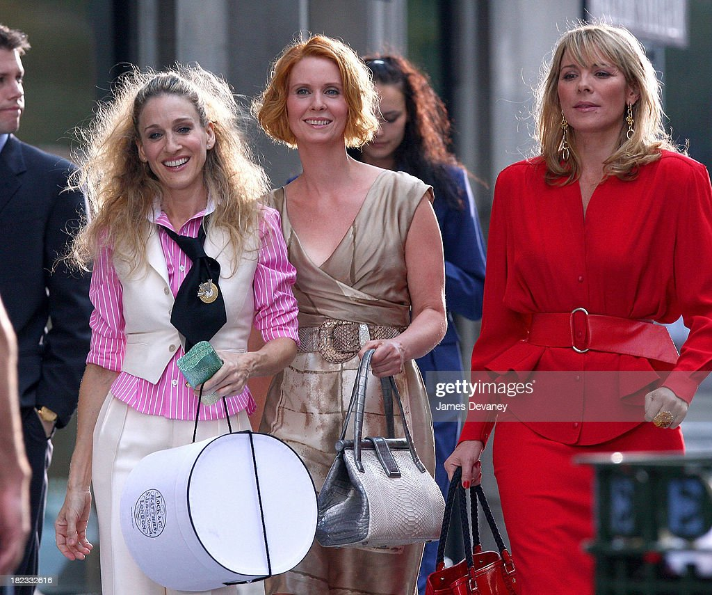 Kristin Davis, Sarah Jessica Parker, Cynthia Nixon and Kim Cattrall film Sex and the City: The Movie - September 21, 2007 : News Photo