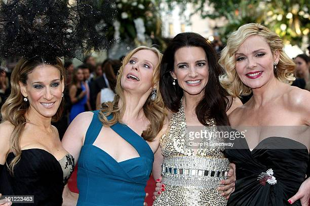 Actresses Sarah Jessica Parker Cynthia Nixon Kristin Davis and Kim Cattrall arrive at the UK premiere of 'Sex And The City 2' at Odeon Leicester...