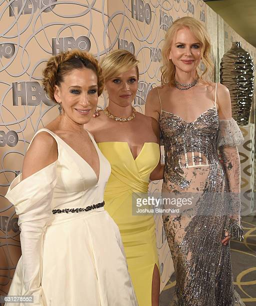 Actresses Sarah Jessica Parker Reese Witherspoon and Nicole Kidman attend HBO's Official Golden Globe Awards After Party at Circa 55 Restaurant on...