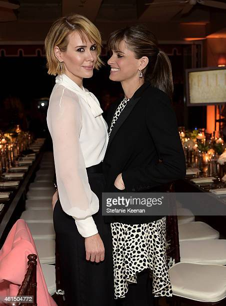 Actresses Sarah Paulson and Amanda Peet attend ELLE's Annual Women in Television Celebration on January 13 2015 at Sunset Tower in West Hollywood...