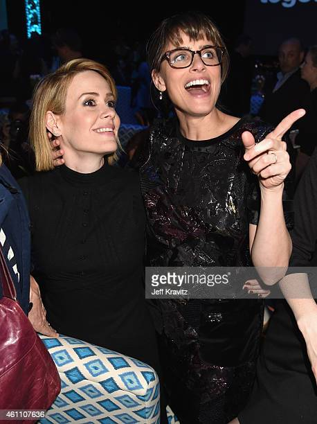Actresses Sarah Paulson and Amanda Peet attend HBO's 'Togetherness' Los Angeles Premiere And After Party at Avalon on January 6 2015 in Hollywood...