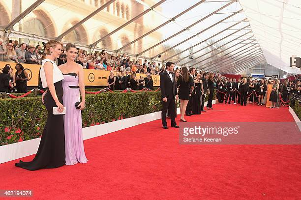 Actresses Sarah Paulson and Amanda Peet attend TNT's 21st Annual Screen Actors Guild Awards at The Shrine Auditorium on January 25 2015 in Los...