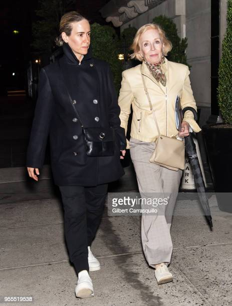 Actresses Sarah Paulson and Holland Taylor are seen arriving to a hotel in the Upper East Side on May 6, 2018 in New York City.