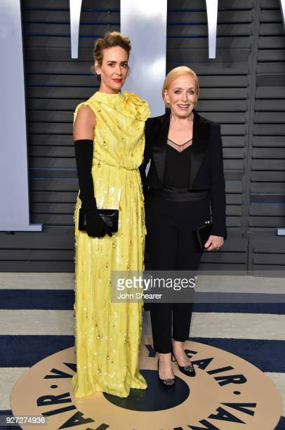 Actresses Sarah Paulson and Holland Taylor attend the 2018 Vanity Fair Oscar Party hosted by Radhika Jones at Wallis Annenberg Center for the...
