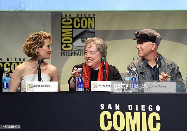 Actresses Sarah Paulson and Kathy Bates and executive producer/writer Ryan Murphy speak onstage at the American Horror Story and Scream Queens panel...