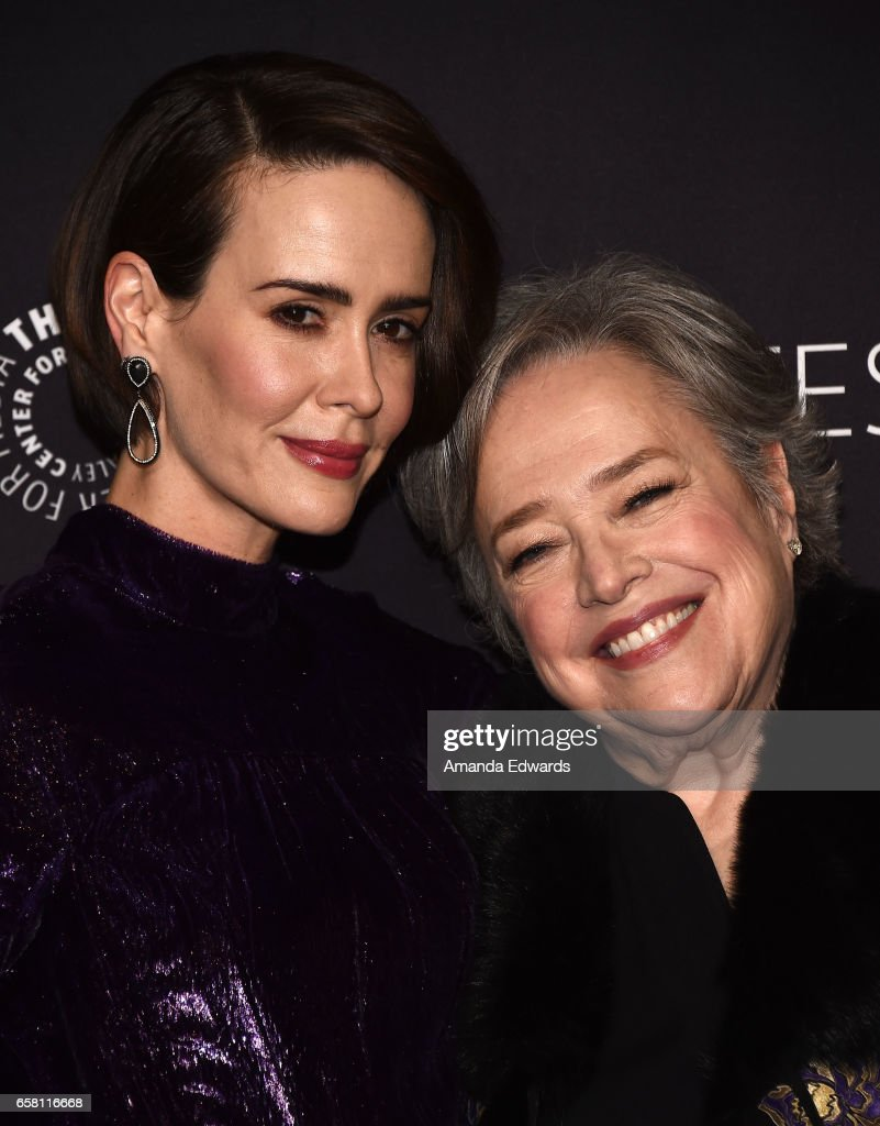 Actresses Sarah Paulson (L) and Kathy Bates attend The Paley Center For Media's 34th Annual PaleyFest Los Angeles - 'American Horror Story: Roanoke' screening and panel at the Dolby Theatre on March 26, 2017 in Hollywood, California.