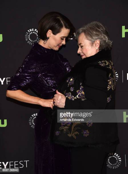 Actresses Sarah Paulson and Kathy Bates attend The Paley Center For Media's 34th Annual PaleyFest Los Angeles American Horror Story Roanoke screening...