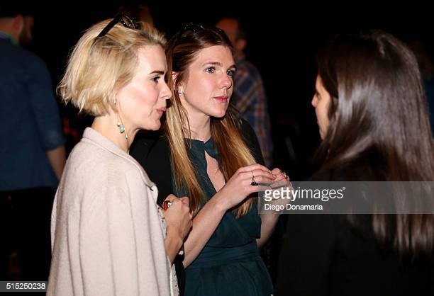 Actresses Sarah Paulson and Lily Rabe attend the premiere of Miss Stevens during the 2016 SXSW Music Film Interactive Festival at Vimeo on March 12...