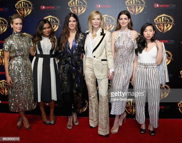 Actresses Sarah Paulson Mindy Kaling Sandra Bullock Cate Blanchett Anne Hathaway and actress/rapper Awkwafina attend CinemaCon 2018 Warner Bros...