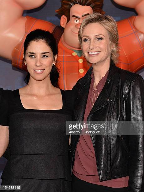 Actresses Sarah Silverman and Jane Lynch arrive at Walt Disney Animation Studios' 'WreckIt Ralph' premiere at the El Capitan Theatre on October 29...