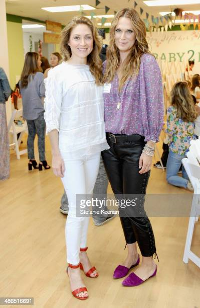 Actresses Sasha Alexander and Molly Sims attend Baby2Baby Mother's Day Party presented by Tiny Prints at Baby2Baby Headquarters on April 24 2014 in...