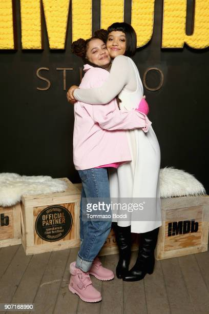 Actresses Sasha Lane and Kiersey Clemons from 'Hearts Beat Loud' attend The IMDb Studio at The Sundance Film Festival on January 19 2018 in Park City...