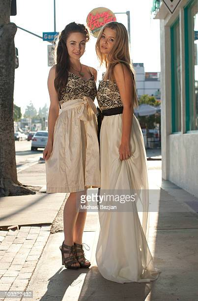 ANGELES CA AUGUST 09 Actresses Sasha Pieterse and Brittany Curran pose for portraits at Designer Lauren Elaine Celebrity Preview Lounge Portrait...