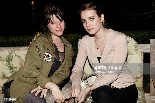 Actresses Sasha Spielberg and Emma Roberts attend a dinner to celebrate the Hamptons International Film Festival screening of Blue Valentine at a...