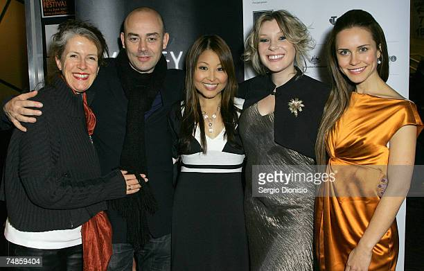 """Actresses Saskia Burmeister Veronica Sywak and Sun Park arrive at the Australian premiere of """"The Jammed"""" at Greater Union George St on June 22, 2007..."""