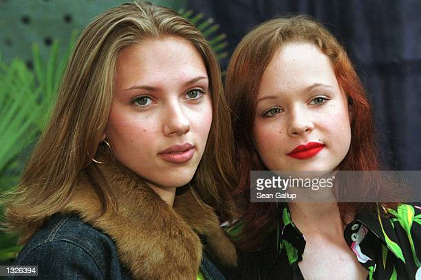 Actresses Scarlett Johansson left and Thora Birch arrive for the screening of the film 'Ghost World' at the 36th Karlovy Vary International Film...