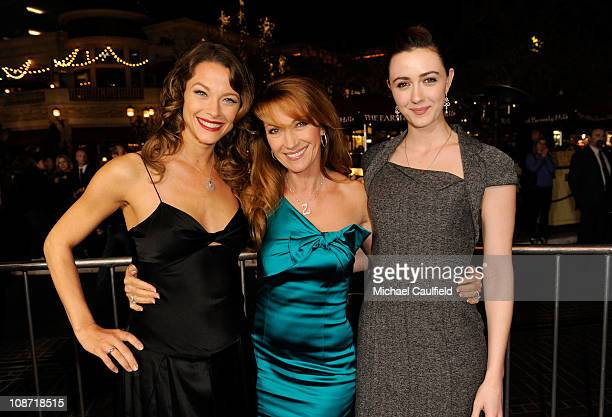 Actresses Scottie Thompson Jane Seymour and Madeline Zima arrive at the Los Angeles Premiere of 'Waiting For Forever' held at the Pacific Theatres at...