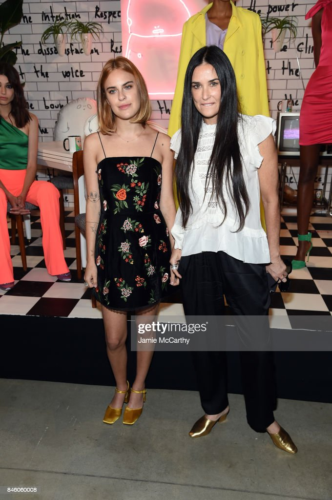 Actresses Scout Willis and Demi Moore at Alice + Olivia By Stacey Bendet - fashion show during September 2017 - New York Fashion Week: The Shows at Gallery 2, Skylight Clarkson Sq on September 12, 2017 in New York City.