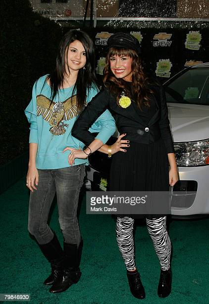 Actresses Selena Gomez and Demi Lovato arrive at Chevy Rocks The Future at the Buena Vista Lot at The Walt Disney Studios February 19 2008 in Burbank...