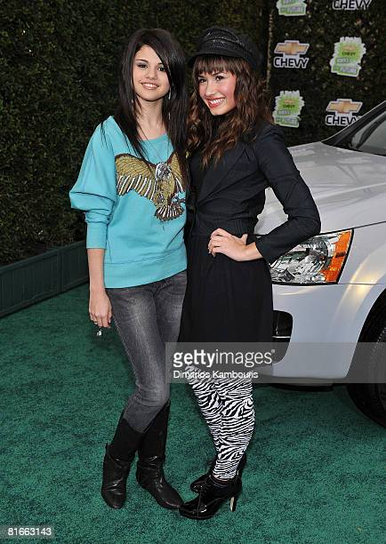 Actresses Selena Gomez and Demi Lovato arrive at Chevy Rocks The Future at the Buena Vista Lot at The Walt Disney Studios on February 19 2008 in...
