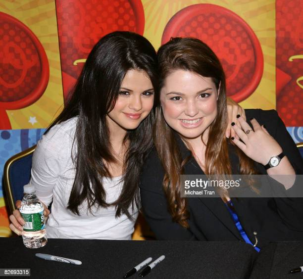 Actresses Selena Gomez and Jennifer Stone of the cast of Wizards of Waverly Place visits the World of Disney on September 6 2008 in New York City
