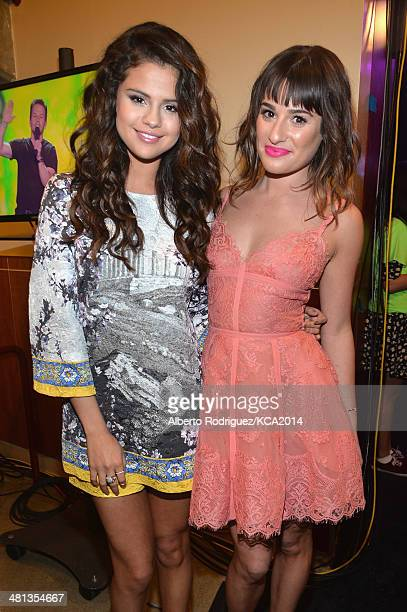 Actresses Selena Gomez and Lea Michele backstage during Nickelodeon's 27th Annual Kids' Choice Awards held at USC Galen Center on March 29 2014 in...