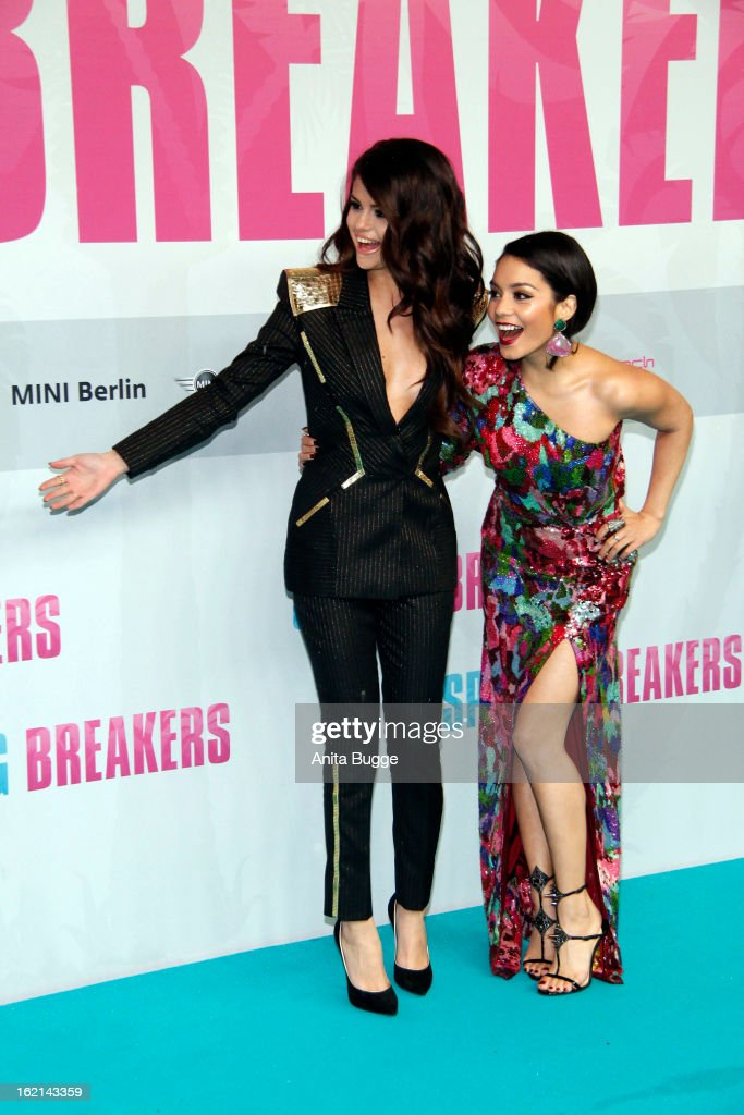Actresses Selena Gomez and Vanessa Hudgens attend the 'Spring Breakers' Germany Premiere at Cinestar Sony Center on February 19, 2013 in Berlin, Germany.