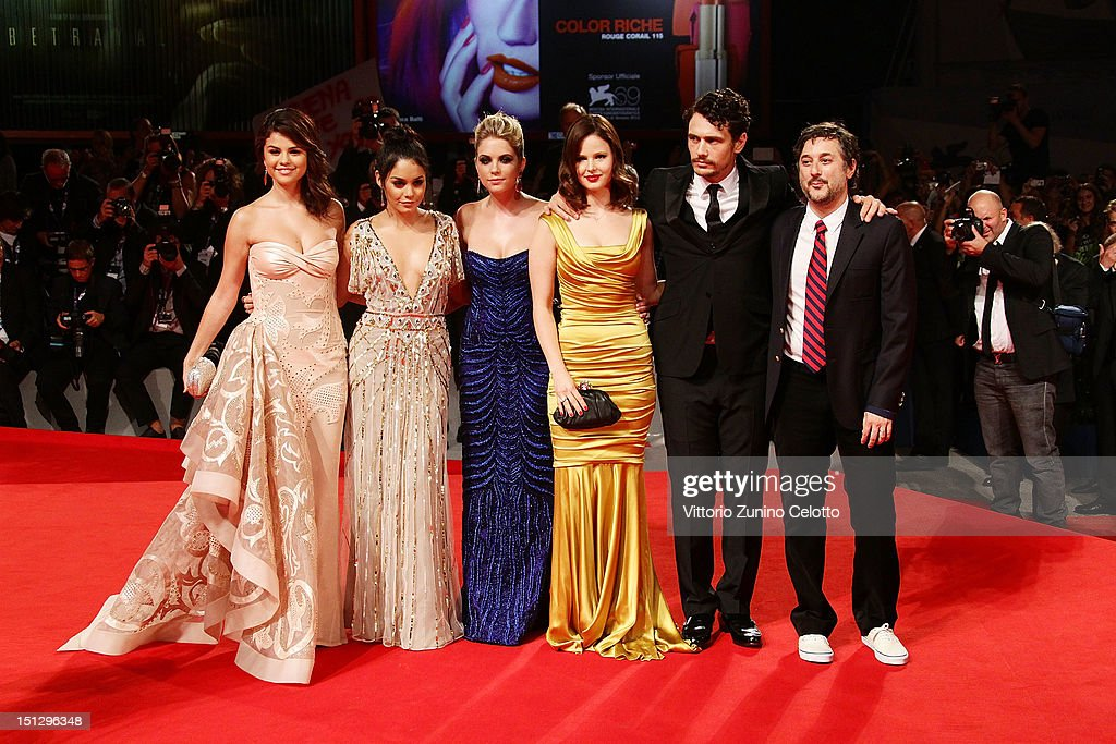 Actresses Selena Gomez, Vanessa Hudgens, Ashley Benson, Rachel Korine, actor James Franco and director Harmony Korine attend the 'Spring Breakers' Premiere during The 69th Venice Film Festival at the Palazzo del Cinema on September 5, 2012 in Venice, Italy.
