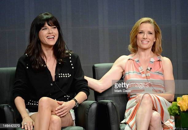 Actresses Selma Blair and Shawnee Smith speak onstage at the 'Anger Management' panel during the FX portion of the 2012 Summer TCA Tour on July 28...