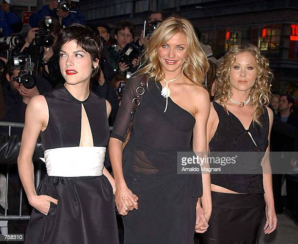 Actresses Selma Blair Cameron Diaz and Christina Applegate attend the premiere of the movie The Sweetest Thing at the Lowes Theater at Lincoln Square...