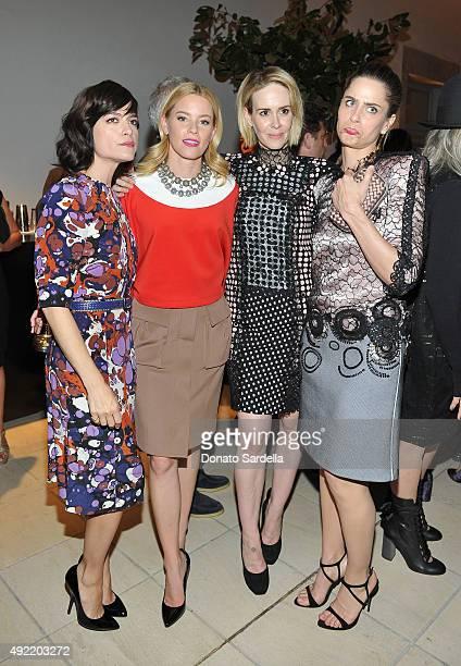Actresses Selma Blair Elizabeth Banks Sarah Paulson and Amanda Peet all wearing Bottega Veneta attend the Hammer Museum Gala in Garden sponsored by...