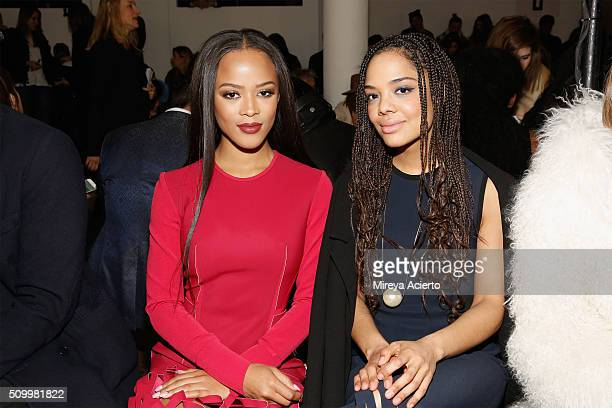 Actresses Serayah McNeill and Tess Thompson attend the Dion Lee fashion show during Fall 2016 MADE Fashion Week at Milk Studios on February 13 2016...