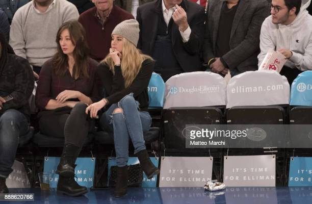 Actresses Shailene Woodley and Isidora Goreshter watch the NBA game between the Memphis Grizzlies and the New York Knicks at Madison Square Garden on...