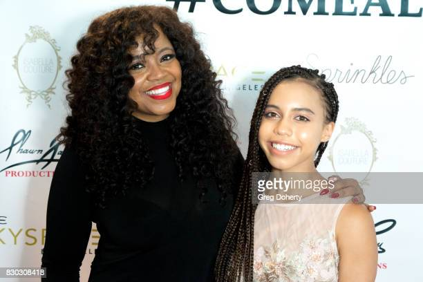 Actresses Shanice Knox and Asia Monet arrive for Asia Monet's 12th Birthday Party at OUE Skyspace LA on August 10 2017 in Los Angeles California