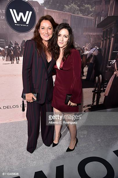 Actresses Shannon Woodward and Sidse Babett Knudsen attend the premiere of HBO's 'Westworld' at TCL Chinese Theatre on September 28 2016 in Hollywood...